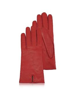 Итальянские Красные Кожаные Женские Перчатки с Подкладкой из Кашемира Forzieri fz18111-002