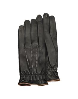 Черные Мужские Перчатки из Кожи Теленка на Кашемировой Подкладке Forzieri FY 42 Nappa Nero/Camel