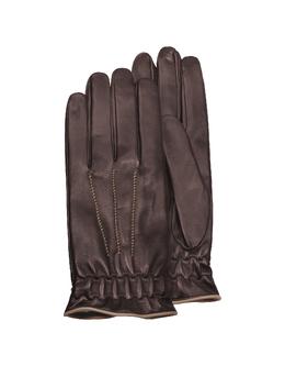 Коричневые Мужские Перчатки из Кожи Теленка на Подкладе из Кашемира Forzieri FY 42 Nappa Moro/Camel