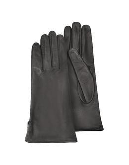 Черные Женские Перчатки из Кожи Теленка на Шелковой Подкладке Forzieri 1255 Glace Nero
