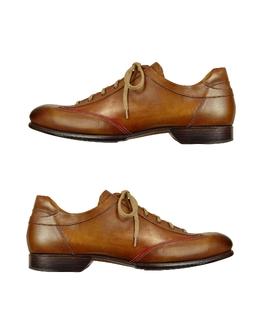 Мужские Итальянские Коричневые Кожаные Туфли на Шнуровке, Изготовленные Вручную Forzieri 1992 yes cacao/rosso