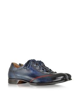 Мужские Итальянские Синие Кожаные Туфли на Шнуровке, Изготовленные Вручную Forzieri 1992 yes blu/rosso