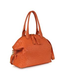 Оранжевая Текстурная Кожаная Сумка Forzieri 5372 FONTANELLI