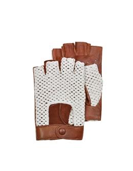 Коричневые Мужские Перчатки для Вождения из Кожи и Хлопка Forzieri T 93 U CORDA COGNAC S