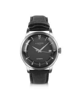 Savona - Черные Автоматические Часы на Ремешке из Кожи под Крокодиловую Forzieri SX9674BKL