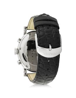 Baviera - Серебристые Мужские Часы Хронограф из Нержавеющей Стали с Черным Тисненым Ремешком из Кожи Forzieri SH9022WHLBK