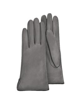Серые Женские Перчатки из Кожи Теленка на Шелковой Подкладке Forzieri 1255 Glace Grigio 10