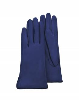 Ярко-синие Женские Перчатки из Кожи Теленка на Шелковой Подкладке Forzieri 1255 Glace Royal