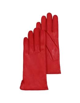 Красные Кожаные Женские Перчатки с Подкладкой из Кашемира Forzieri 1255 F.CASHMERE ROSSO SMALL