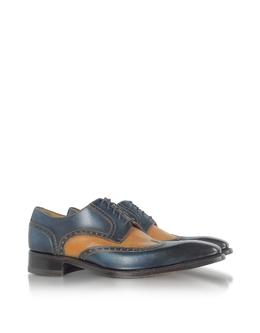 Двухцветные Кожаные Оксфордские Туфли, Изготовленные Вручную Forzieri 9911 ruggine blu cuoio 344