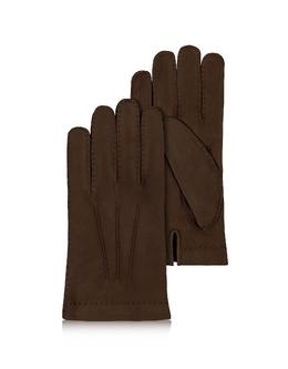 Мужские Перчатки из Итальянской Кожи Теленка на Подкладке из Кашемира Forzieri 1509 ELEFANTE MARRONE 102 F.CASHMERE