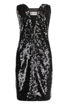 Платье-бюстье с V-образным вырезом и пайетками Saint Laurent 465502/Y444W