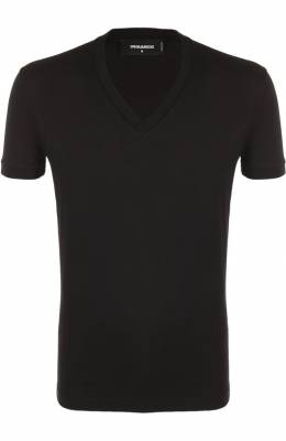 Хлопковая футболка с V-образным вырезом Dsquared2 S74GD0255/S22427