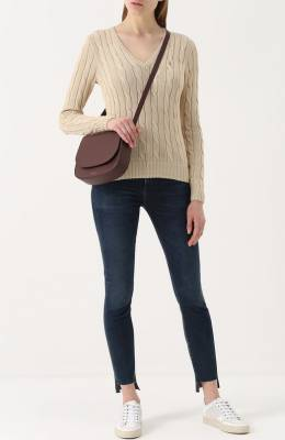 Пуловер фактурной вязки с логотипом бренда Polo Ralph Lauren 211580008
