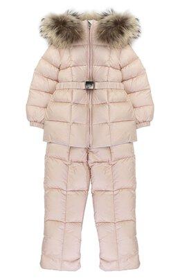 Пуховый комплект из комбинезона и куртки с меховой отделкой Moncler Enfant C2-951-70336-25-53048