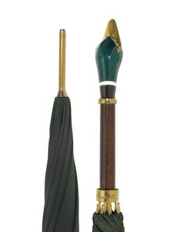 Зеленый Мужской Зонт с Ручкой Уткой Pasotti ART. 460 OXFORD/10 IMP.K26