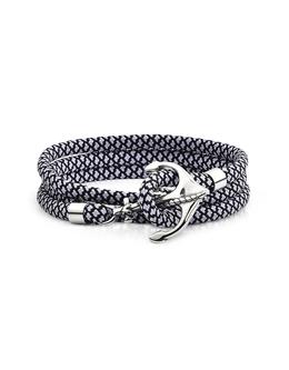 Черно-Белый Плетеный Тройной Браслет Веревка с Якорем Forzieri ENT213 BLK/WHT