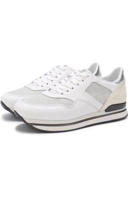 Комбинированные кроссовки на шнуровке Hogan HXW2220N62DIGZ362C