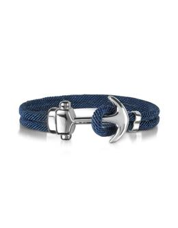 Двойной Браслет Морская Веревка с Якорем Forzieri ENT241 BLUE