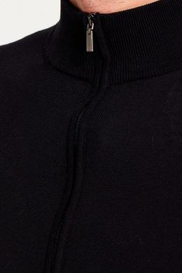 Черный хлопковый кардиган на молнии Canali 179374117