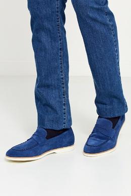 Синие замшевые лоферы Canali 179374229