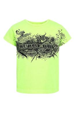 Зеленая футболка с черным принтом Burberry Kids 125379495