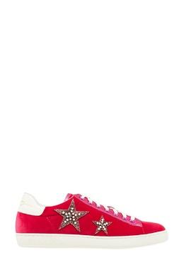 Розовые бархатные кеды со звездами Lola Cruz 169879073