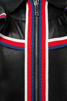 Кожаная куртка с воланом Gucci Kids 125683457