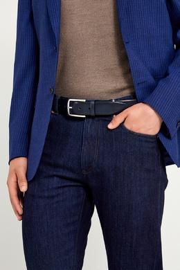 Черный кожаный ремень Canali 179387057