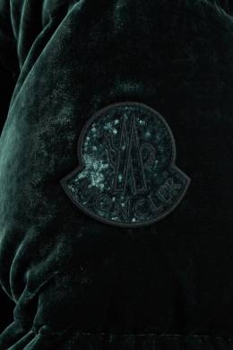Бархатная зеленая куртка Moncler 3495045