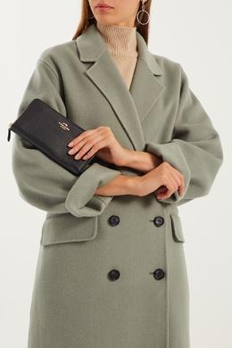 Черный кожаный кошелек на молнии Coach 2219101027