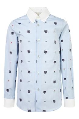 Голубая рубашка с вышивкой Gucci Kids 1256102333