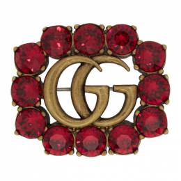 Gucci Gold and Red Marmont Gem Brooch 191451F02100301GB