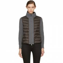 Moncler Black and Grey Down Knit Jacket 172111F06300901GB