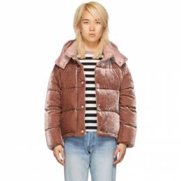Moncler Pink Velvet Down Caille Jacket 182111F06105304GB