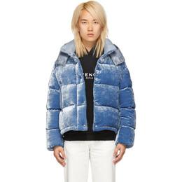 Moncler Blue Velvet Down Caille Jacket 182111F06105407GB