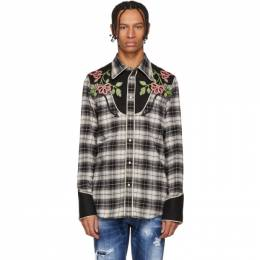 Dsquared2 Black and Grey Check Western Shirt S71DM0268 S49260