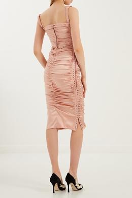 Розовое платье со шнуровкой и драпировкой Dolce & Gabbana 599101138