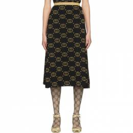 Gucci Black and Gold Wool GG Skirt 191451F09200402GB