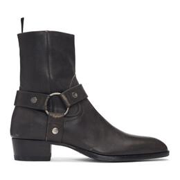 Saint Laurent Grey Stone-Washed Wyatt Harness Boots 549521 0Z400