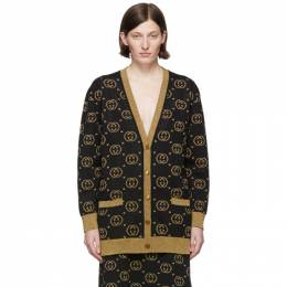 Gucci Black and Gold GG Motif Cardigan 555014 XKAH9