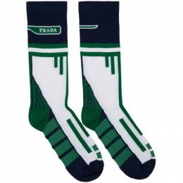 Prada White and Navy Technical Socks 191962M22001102GB