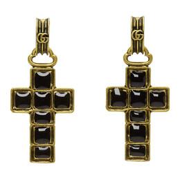 Gucci Black and Gold Cross Pendant Earrings 549298 J1631