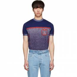Prada Blue Knit Milled Short Sleeve Sweater 191962M20101702GB