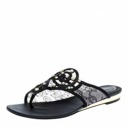 Rene Caovilla Black Embellished Lace and Satin Flat Sandals Size 38 137363