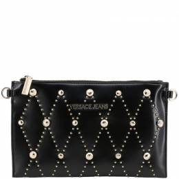 Versace Jeans Black Faux Leather Studded Clutch Bag