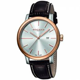 Rochas Silver Rose Gold Plated Stainless Steel RP1G015L0041 Men's Wristwatch 42MM 179638