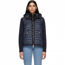 Moncler Navy Knit Combo Hooded Jacket 191111F06301203GB