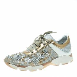 Rene Caovilla Beige/White Lace Flower Embellished Lace Up Sneakers Size 39 170205