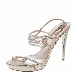 Rene Caovilla Blush Pink Crystal Embellished Satin Ankle Strap Sandals Size 41